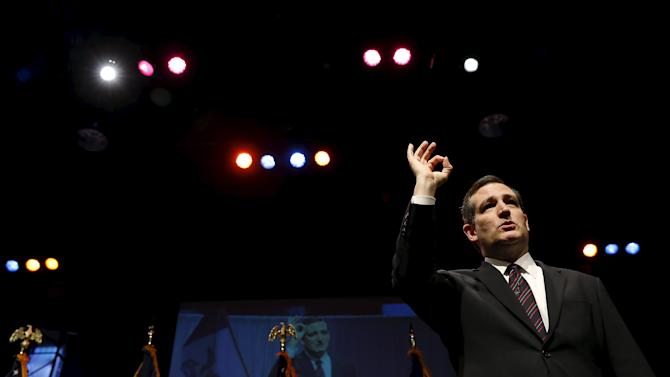 U.S. Presidential candidate and Senator of Texas Ted Cruz speaks at the Iowa Faith and Freedom Coalition's forum in Waukee