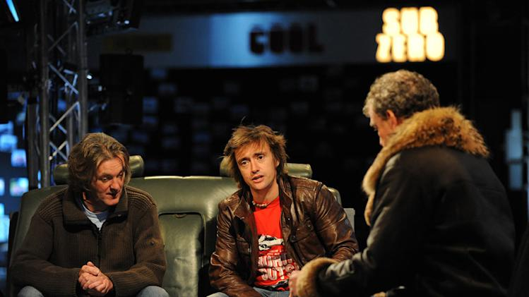 """Top Gear"" presenters James May (left), Richard Hammond (center), and Jeremy Clarkson (right)."