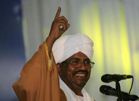 Sudanese President Omar Hassan al-Bashir addresses the general conference of the ruling National Congress Party in Khartoum