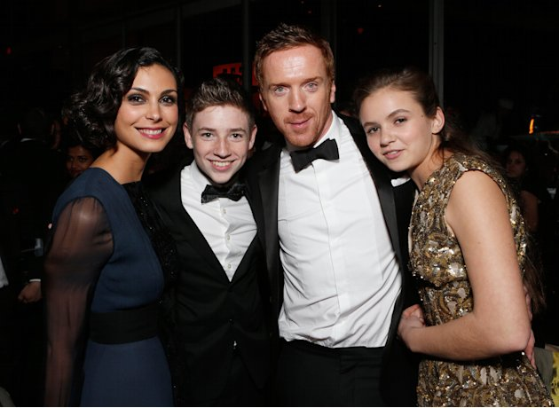 IMAGE DISTRIBUTED FOR FOX SEARCHLIGHT - From left, actors Morena Baccarin, Jackson Pace, Damian Lewis and Morgan Saylor attend the Fox Golden Globes Party on Sunday, January 13, 2013, in Beverly Hills