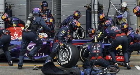 Sebastian Vettel of Germany is attended to by his crew during a pit stop during the Brazilian F1 Grand Prix at the Interlagos circuit in Sao Paulo