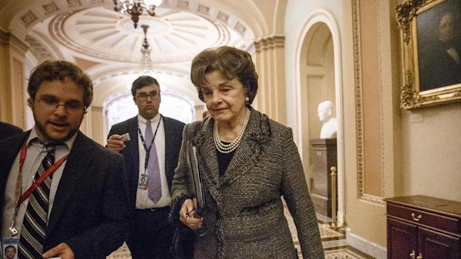 Sen. Dianne Feinstein, D-Calif., chair of the Senate Intelligence Committee, leaves the chamber at the Capitol in Washington, Wednesday, March 5, 2014. The CIA is investigating whether its officers improperly monitored members of the Senate Intelligence Committee, which oversees the intelligence agency, U.S. officials confirmed Wednesday. Feinstein told reporters that the CIA inspector general is investigating how her committee investigated allegations of CIA abuse in a Bush-era detention and interrogation program. (AP Photo/J. Scott Applewhite)