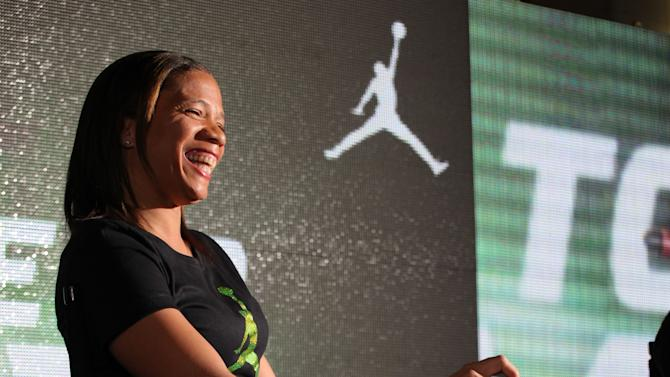 Jordan Brand athlete, Paralympic gold medalist April Holmes, answers questions at Jordan Brand's Flight Experience on Friday, February 15, 2013 in Houston, TX.  Holmes has been a Jordan Brand athlete since 2005.  (Photo by Omar Vega/Invision for Jordan Brand/AP Images)