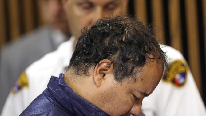FILE - In this May 9, 2013 file photo, Ariel Castro appears in Cleveland Municipal court in Cleveland on charges of kidnapping and rape after three missing women escaped his home three days before. Castro, 53, serving a life sentence for the kidnapping and rape of Amanda Berry, Gina DeJesus and Michelle Knight, was found hanging in his cell, Tuesday night, Sept. 3, 2013, at the Correctional Reception Center in Orient, Ohio. (AP Photo/Tony Dejak, File)