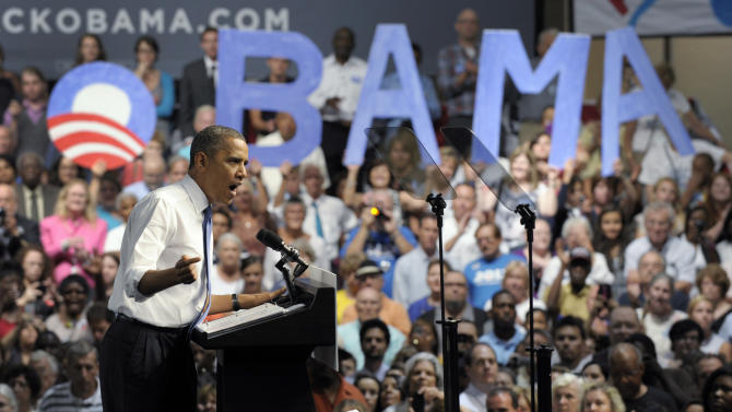 FILE- In this July 19, 2012 file photo, President Barack Obama speaks at a campaign event at the Prime Osborn Convention Center in Jacksonville, Fla. The Obama campaign targeted the Jacksonville area with surprising success in 2008, nearly equaling Republican John McCain in Duval County. This helped Obama carry the state. Whether Obama can do as well again may determine if he takes Florida a second time and with it a second term. (AP Photo/Susan Walsh, File)