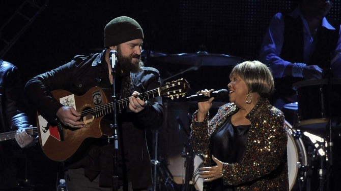 """Zac Brown, left, and Mavis Staples perform """"My City of Ruins"""" on stage at the MusiCares Person of the Year tribute honoring Bruce Springsteen at the Los Angeles Convention Center on Friday Feb. 8, 2013, in Los Angeles. (Photo by Chris Pizzello/Invision/AP)"""