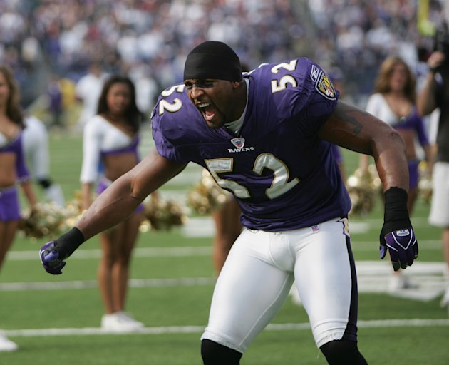 BALTIMORE - NOVEMBER 21: Linebacker Ray Lewis #52 of the Baltimore Ravens looks on before facing the Dallas Cowboys during the game at M&T Bank Stadium on November 21, 2004 in Baltimore, Maryland. The