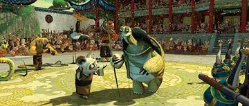Shifu (voiced by Dustin Hoffman ) and Oogway (voiced by Randall Duk Kim ) in DreamWorks Animation's Kung Fu Panda