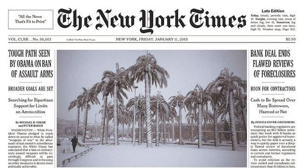 Times Closes Environment Desk on Same Day 'Extreme Weather' Hits Front Page