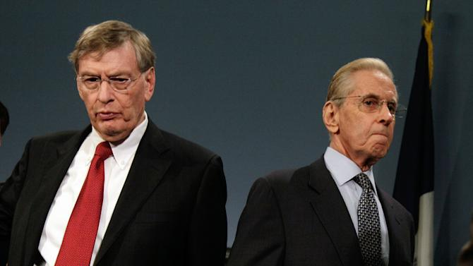Major League Baseball Commissioner Bud Selig, left, and New York Mets owner Fred Wilpon, leave a news conference at New York's City Hall,  Wednesday, May 16, 2012, where it was announced that the 2013 All-Star baseball game will be hosted by the Mets at Citi Field in New York.(AP Photo/Richard Drew)