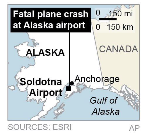 Map locates Soldotna Airport in Alaska, where a small plane crashed, killing all aboard.; 1c x 1 1/2 inches; 46.5 mm x 38 mm;