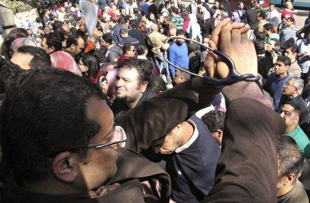 Egyptian doctors demonstrate in front of the Doctors Union in Cairo