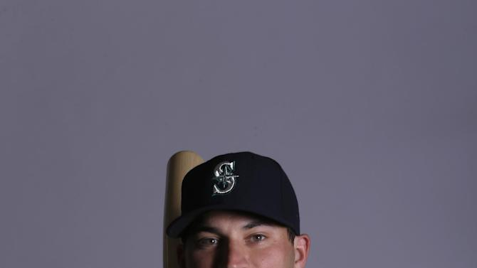 This is a 2015 photo of Mike Zunino of the Seattle Mariners baseball team. This image reflects the Seattle Mariners active roster as of Thursday, Feb. 26, 2015, when this image was taken. (AP Photo/Charlie Riedel)