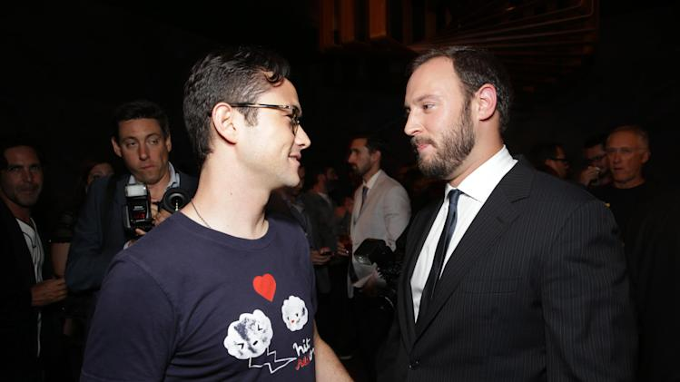 Joseph Gordon-Levitt and Director/Producer/Writer Evan Goldberg at Columbia Pictures 'This is The End' Premiere on Monday, June, 3, 2013 in Los Angeles. (Photo by Eric Charbonneau/Invision for Columbia Pictures/AP Images)