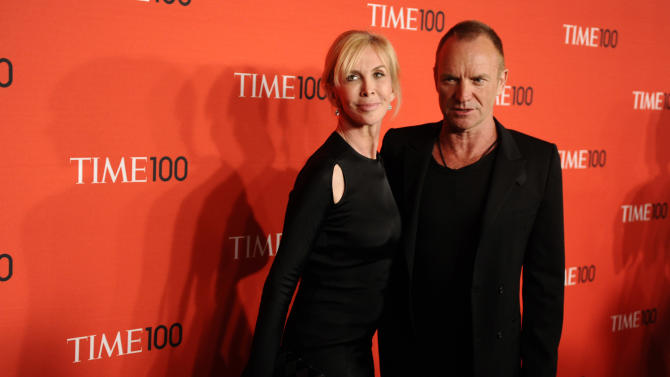 """FILE - Musician Sting and his wife Trudie Styler attend the Time 100 Gala, celebrating the 100 most influential people in the world, on in this April 26, 2011 file photo, in New York. Sting moved the location of his """"Back to Bass Tour"""" concert Saturday Oct. 20, 2012 in the Philippines following a petition by environmentalists who said the original venue is owned by a conglomerate that plans to uproot 182 trees for a parking lot and mall expansion in a northern mountain city. Sting and his wife established The Rainforest Foundation to protect tropical rainforests and their people.(AP Photo/Peter Kramer, FILE)"""
