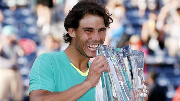 Rafael Nadal of Spain poses with his trophy after he defeated Juan Martin Del Potro of Argentina in the men's singles final match to win the BNP Paribas Open ATP tennis tournament in Indian Wells (Reuters)