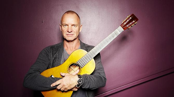 """FILE - In this Sept. 26, 2013, file photo, Sting poses for a portrait at The Public Theater in New York. Producers said Wednesday, Feb. 12, 2014, that the show """"The Last Ship,"""" inspired by Sting's memories of growing up in a shipbuilding community in northeast England, will start performances Sept. 30 at the Neil Simon Theatre. Opening night will be Oct. 26. (Photo by Dan Hallman/Invision/AP, File)"""