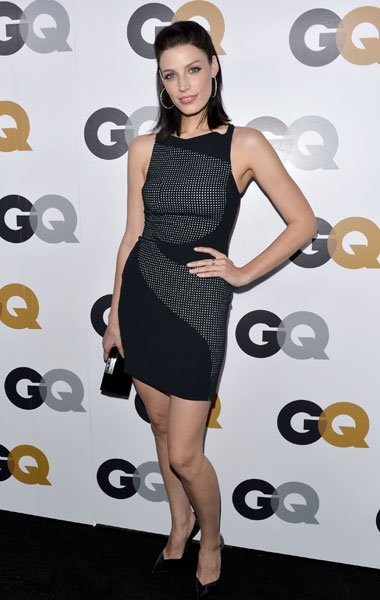 "Jessica Pare: The Canadian ""Mad Men"" star wears a simple little black dress with a fun mini polka-dot print. We think her TV husband Don Draper would approve. (Photo by Alberto E. Rodriguez/Getty Imag"