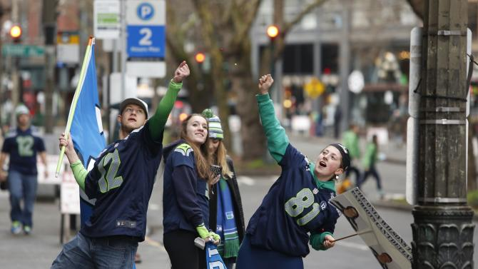 Seattle Seahawks fans gather to watch the Super Bowl XLIX, near CenturyLink Field in Seattle, Washington