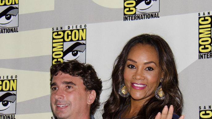 "From left, Anthony C. Ferrante and Vivica A. Fox attend the ""Sharknado"" panel on Day 1 of Comic-Con International on Thursday, July 24, 2014, in San Diego.(Photo by Tonya Wise/Invision/AP)"