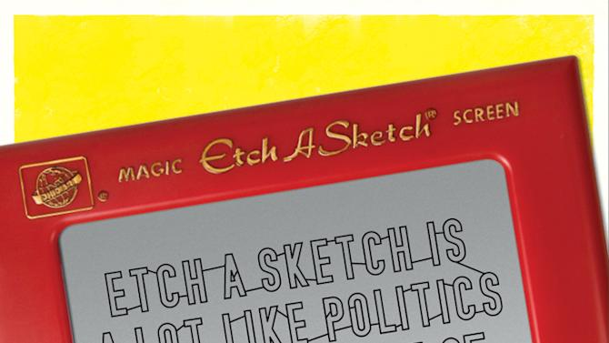 """This undated image provided by the Ohio Art Company, makers of Etch A Sketch, shows one of the ads for a new politics-themed ad campaign. The company is launching the campaign after making headlines nationwide when an aide for Mitt Romney compared his election campaign to the toy. Three ads in the campaign, tagged """"Shake it Up, America,"""" poke fun at politics in general and maintain that the toy, created in 1960, is politically neutral. (AP Photo/The Ohio Art Company)"""
