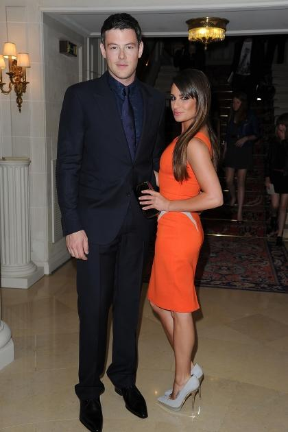 'Glee' stars Cory Monteith and Lea Michele arrive at the Versace Haute-Couture show as part of Paris Fashion Week at the Ritz hotel in Paris on July 1, 2012 -- Getty Images