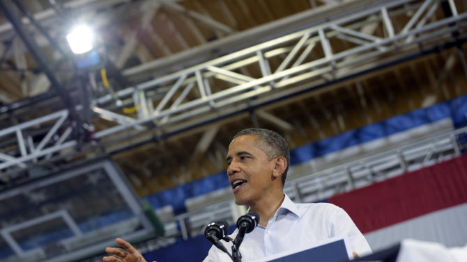 President Barack Obama speaks at a campaign event at Green Run High School in Virginia Beach, Va., Friday, July 13, 2012. Obama is spending the day in Virginia campaigning. (AP Photo/Susan Walsh)