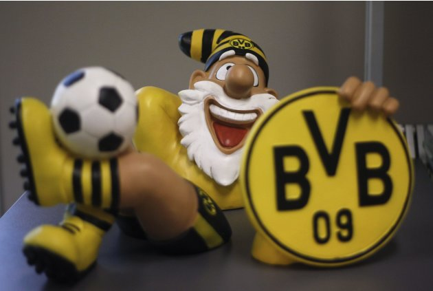 A garden gnome in Borussia Dortmund colours is seen at the club shop at the Signal Iduna Park in Dortmund
