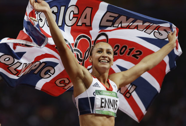 Britain's Jessica Ennis celebrates winning gold following the 800-meter heptathlon during the athletics in the Olympic Stadium at the 2012 Summer Olympics, London, Saturday, Aug. 4, 2012. (AP Photo/Anja Niedringhaus)