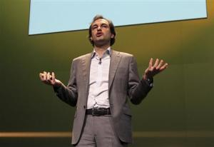 Google VP Henrique De Castro delivers a speech during Cannes Lions 2010 International Advertising Festival in Cannes