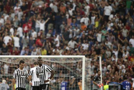 Juventus Pogba reacts during match against AS Roma in Serie A soccer match at Olympic stadium in Rome