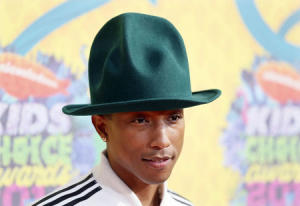 Pharrel Williams arrives at the 27th Annual Kids' Choice Awards in Los Angeles