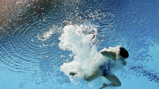 Shi of China is seen underwater during the women's 3m springboard semi final at the Aquatics World Championships in Kazan