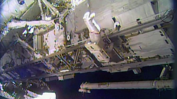 In this image made from video provided by NASA, astronaut Rick Mastracchio performs a space walk outside the International Space Station on Saturday, Dec. 21, 2013. Mastracchio and Michael Hopkins ventured out of the station to try to revive a crippled cooling line. (AP Photo/NASA)