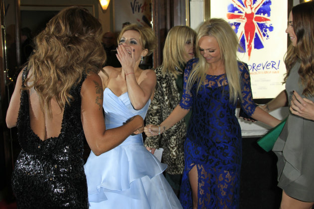 Mel B, from left, Geri Halliwell, Emma Bunton and Mel C arrive for Viva Forever! Press Night, a musical based on the songs of the Spice Girls, at the Piccadilly Theatre in central London, Tuesday, Dec. 11, 2012. (Photo by Joel Ryan/Invision/AP)