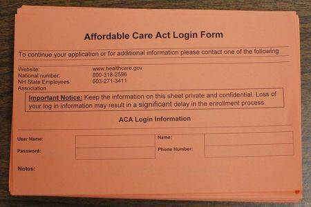 A form to help create a user account on the HealthCare.gov website is available at a health care enrollment fair co-sponsored by Planned Parenthood of Northern New England and the State Employees Association at Great Bay Community College in Portsmouth