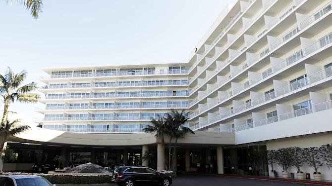 This Feb. 17, 2012 photo shows a general view of The Beverly Hilton Hotel in Beverly Hills, Calif. Police say two people have been found dead in what investigators believe was a murder-suicide in a room shooting at the Beverly Hilton, just hours before the Daytime Emmy Awards are being held at the posh hotel.  (AP Photo/Matt Sayles)