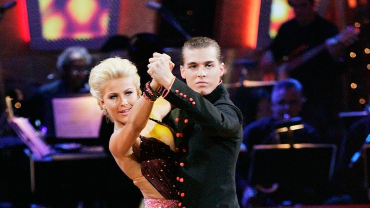 Julianne Hough and Cody Linley perform a dance on the seventh season of Dancing with the Stars.