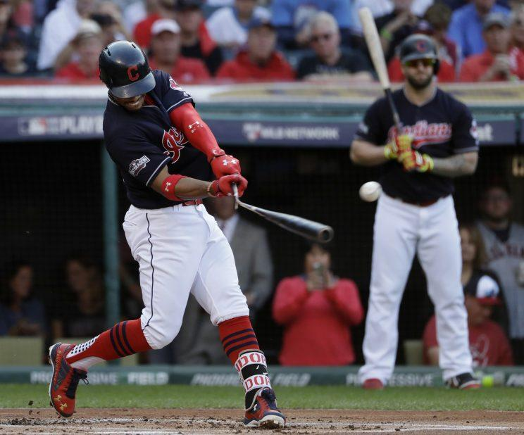 Francisco Lindor stayed hot in Game 2 of the ALCS. (AP Photo/Matt Slocum)