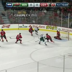 Jonas Hiller Save on Charlie Coyle (07:13/1st)
