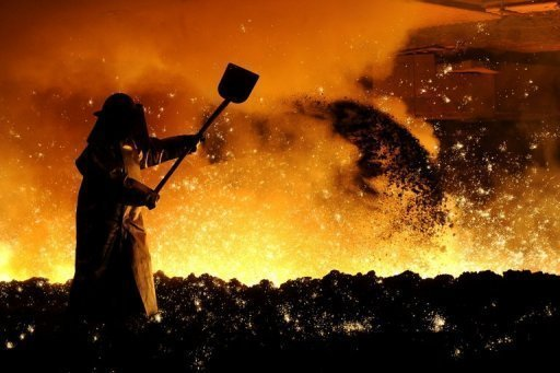 <p>A smelter works with raw iron in a blast furnace at German steel firm Salzgitter in Salzgitter, northern Germany, March 2010. Eurozone private sector activity sank to the lowest level for three years in the second quarter as business sentiment deteriorated in the crisis-hit region, a key survey showed Thursday.</p>