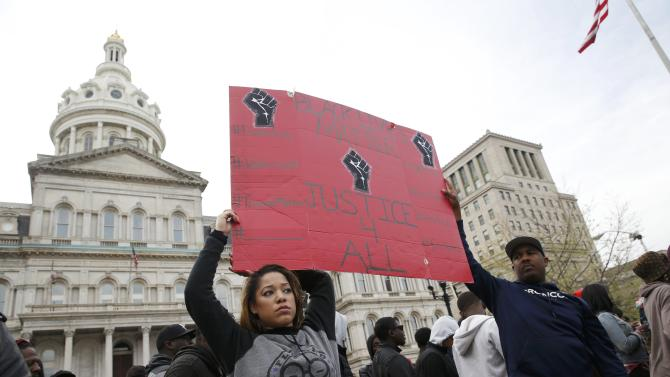 Protesters gather for a rally to protest the death of Freddie Gray who died following an arrest in Baltimore