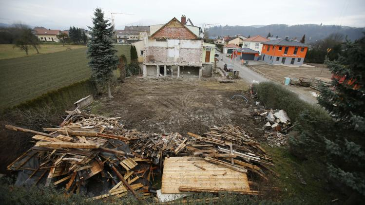 A demolished house lies on property affected by the June 2013 flood of the nearby Danube river in Fischerdorf a suburb of the eastern Bavarian city of Deggendorf