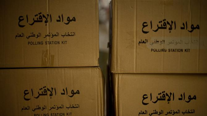 Polling station kits are seen in Tripoli, Libya, Friday, July 6, 2012. The Libyan National Assembly elections will take place on July 7, 2012 and will be the first free elections since 1969. (AP Photo/Manu Brabo)