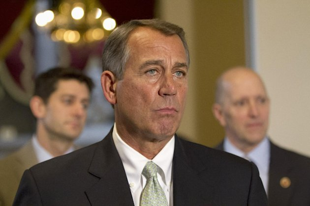FILE - In this Jan. 23, 2013, file photo, House Speaker John Boehner of Ohio, flanked by House Budget Committee Chairman Rep. Paul Ryan, R-Wis., left, and House Ways and Means Committee Chairman Rep. Dave Camp, R-Mich., speaks during a news conference on Capitol Hill in Washington. Boehner has shored up his political clout after a shaky month by persuading fellow Republicans to pick their fights with Democrats more strategically. His rebound helped the government avoid a potential default on financial obligations. (AP Photo/Jacquelyn Martin, File)