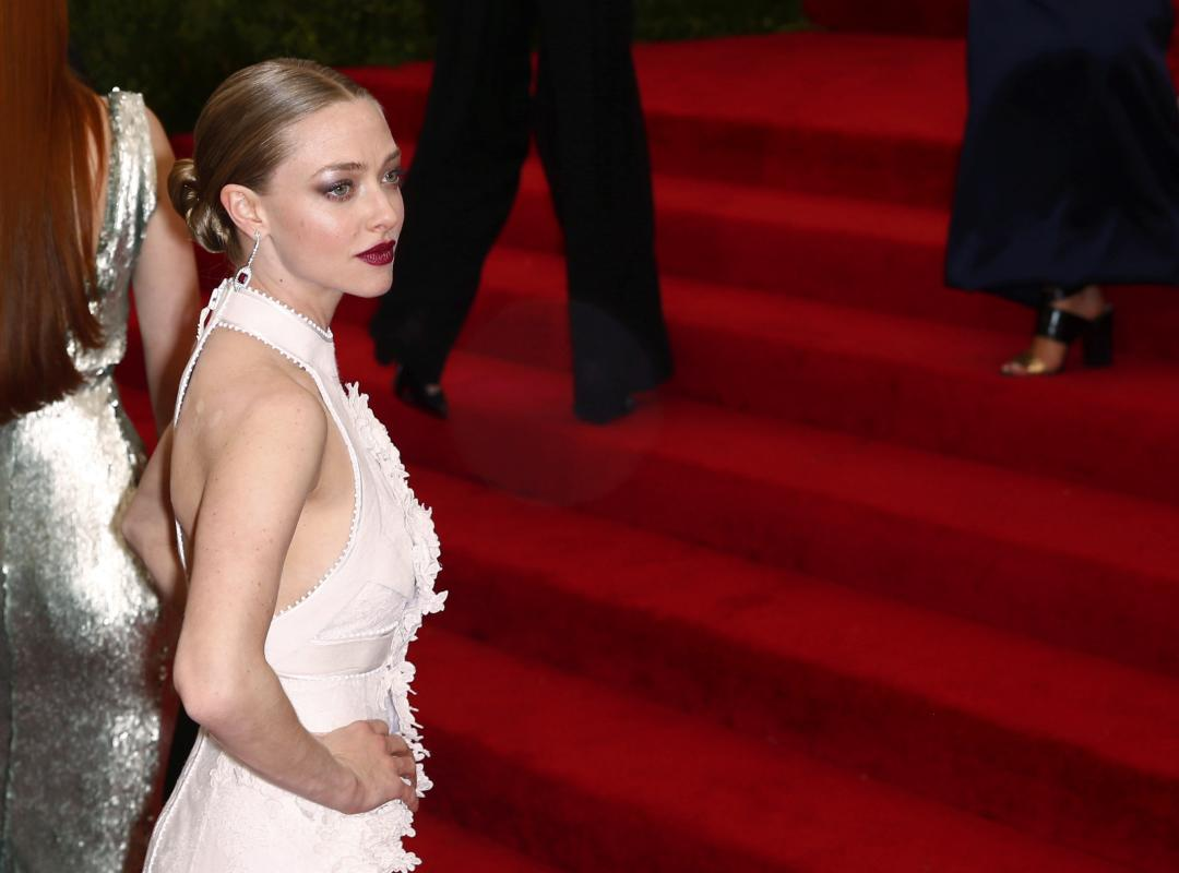 "Actress Amanda Seyfried arrives at the Metropolitan Museum of Art Costume Institute Gala 2015 celebrating the opening of ""China: Through the Looking Glass,"" in Manhattan"