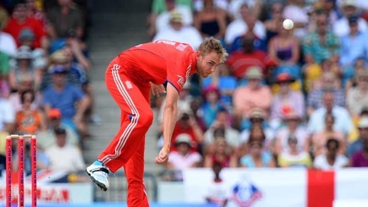 England captain Stuart Broad delivers a ball during the first T20 match against the West Indies at the Kensington Oval on March 9, 2014