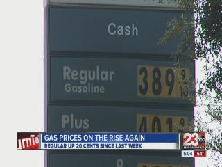 Gas prices in Bakersfield up 20 cents since last week.