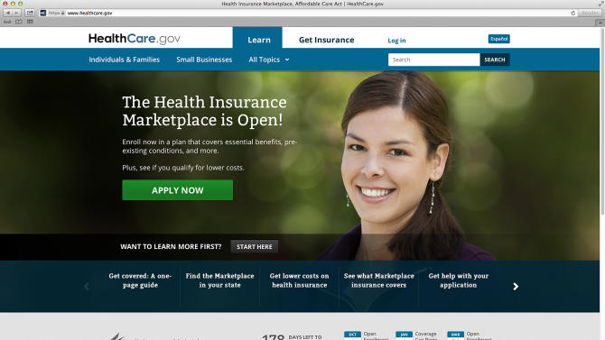 This photo provided by HHS shows the main landing web page for HealthCare.gov. The government's new health insurance marketplaces are drawing lots of rotten tomatoes in early reviews. But people are at least checking the things out. According to an AP-GfK poll, 7 percent of Americans report that somebody in their household has tried to sign up for insurance through the health care exchanges. While that's a small percentage, it could represent more than 20 million people. (AP Photo/HHS)