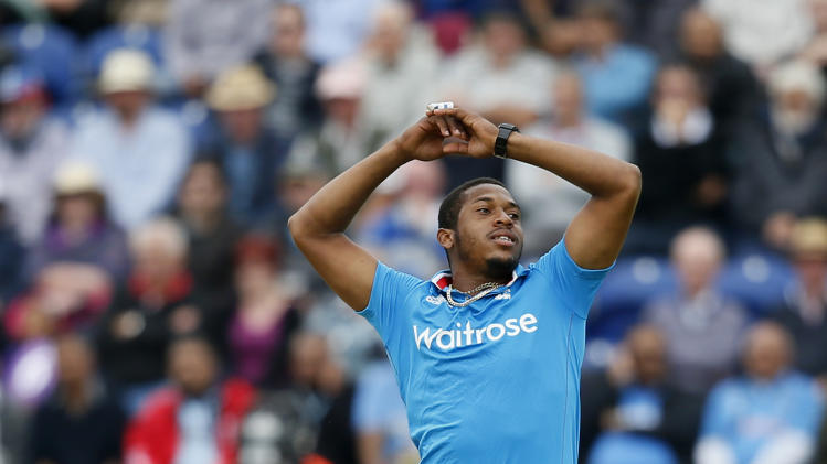 England's Chris Jordan reacts, as India's Rohit Sharma is given not out despite his appeal, during their One Day International cricket match at the SWALEC cricket ground in Cardiff, Wales, Wednesday, Aug. 27, 2014. (AP Photo/Alastair Grant)